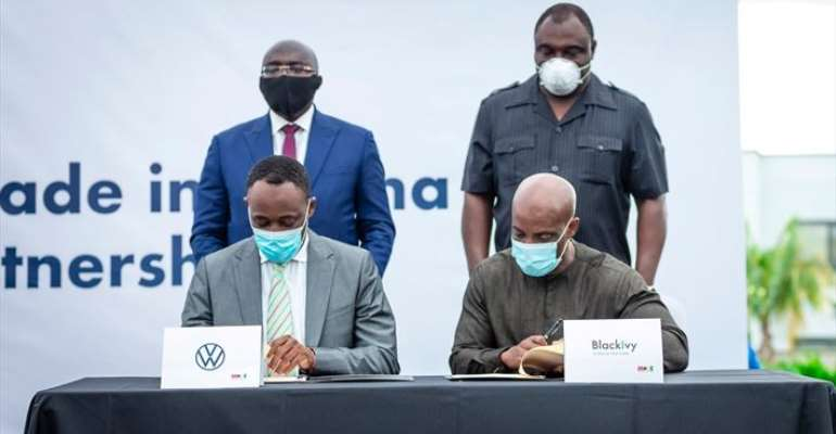 Front, from left: Jeffrey Peprah, CEO: Volkswagen Ghana and Alex Canfor-Dumas, West Africa Director: BlackIvy Group. Back, from left: Dr Mahamudu Bawumia, Vice President of the Republic of Ghana and Robert Ahomka-Lindsay, Deputy Minister of Trade & Industry.
