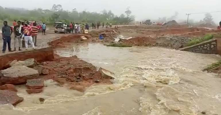 Part of N8 road under construction caves in at Assin Endwa