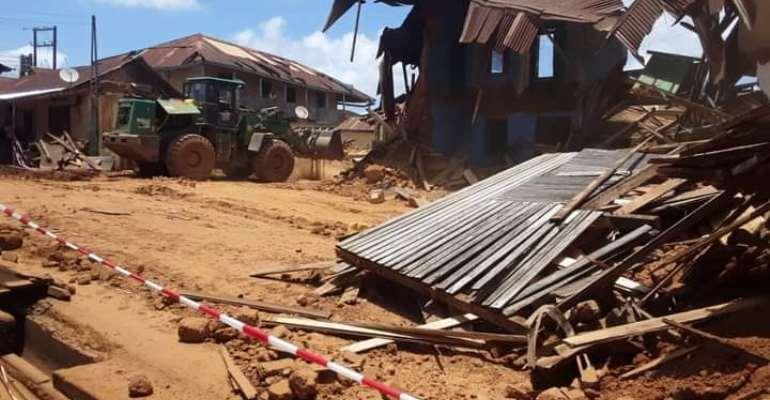 Collapsing Akyem Oda's Chief Palace demolished