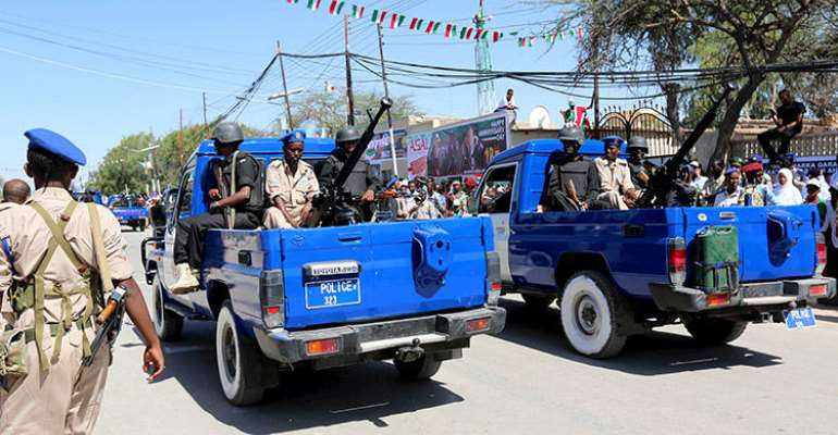 Police are seen in Hargeisa, Somaliland, on May 18, 2015. Hargeisa police recently arrested two employees of HadhwanaagNews after a court ordered the outlet's website to be blocked. (Reuters/Feisal Omar)