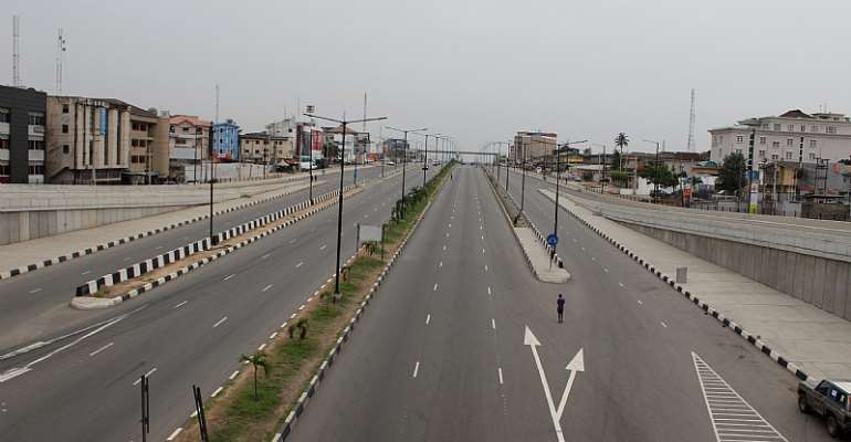 The International Airport Road Lagos, Nigeria deserted during COVID-19 lockdown - Source: