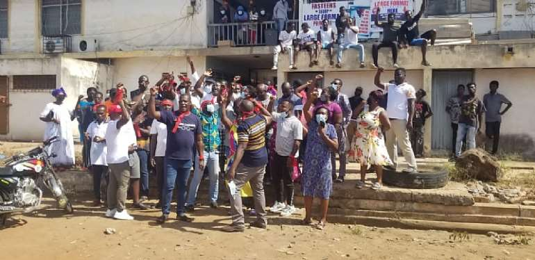 Tema Central NPP supporters shut down party office, burn tyres over MCE appointment