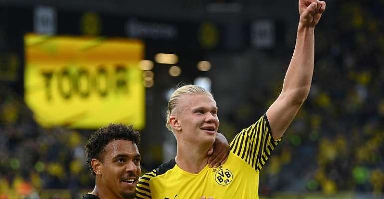 Erling Haaland of Dortmund celebrates his goal with Donyell Malen, Borussia Dortmund vs. Union Berlin, Bundesliga, Signal Iduna Park, Dortmund, September 19, 2021  Image credit: Getty Images