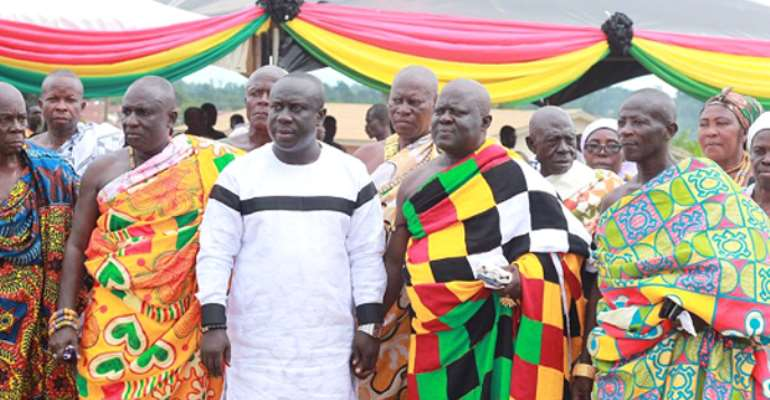 AYA President, Maxwell Atuanor Dwirah (3rd left on front row), posed Osabarima Ofosuhene Apenteng II, Asuomhene (2nd left on front row) and other chiefs and elders of Asuom after presenting the petition to Okyenhene.