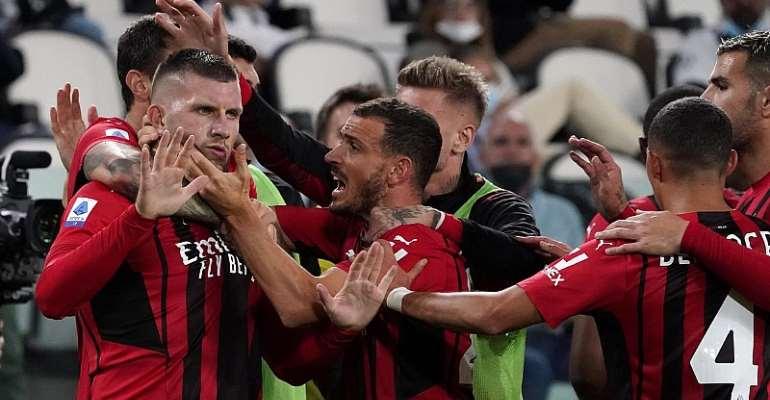 AC Milan celebrate Ante Rebic's goal, Juventus vs AC Milan, Serie A, Allianz Stadium, Turin, Italy September 19, 2021  Image credit: Getty Images