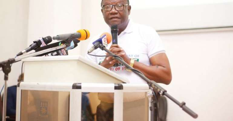 Rev. Prof. Emmanuel Asante, Chairman, National Peace Council, speaking at the commemoration of the International Peace Day in Accra. Picture: NII MARTEY M. BOTCHWAY