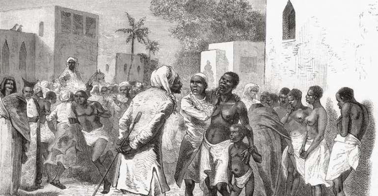 A slave market in Zanzibar, on a depiction from 1878