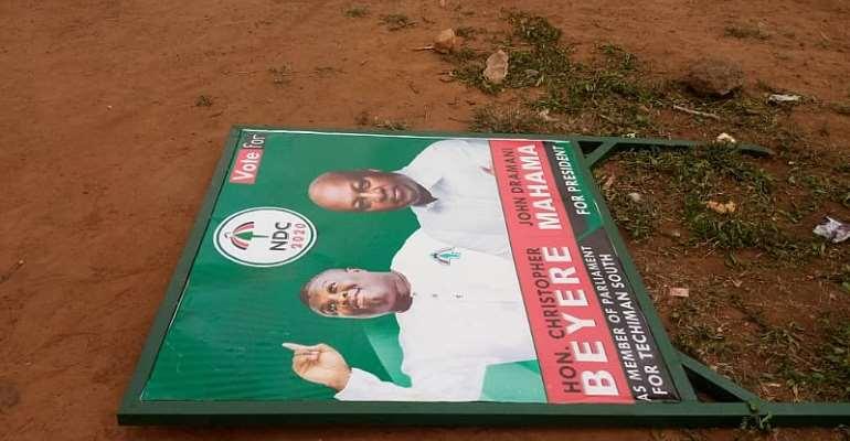 Man Arrested For Destroying NDC Billboards In Techiman