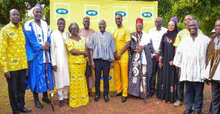 Dr. Bawumia with school authorities and MTN at the sod cutting ceremony
