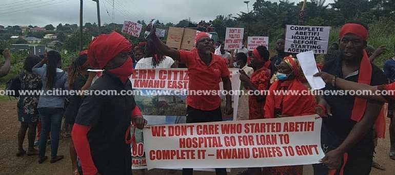 Residents demonstrate over abandoned Abetifi District hospital project started by NDC
