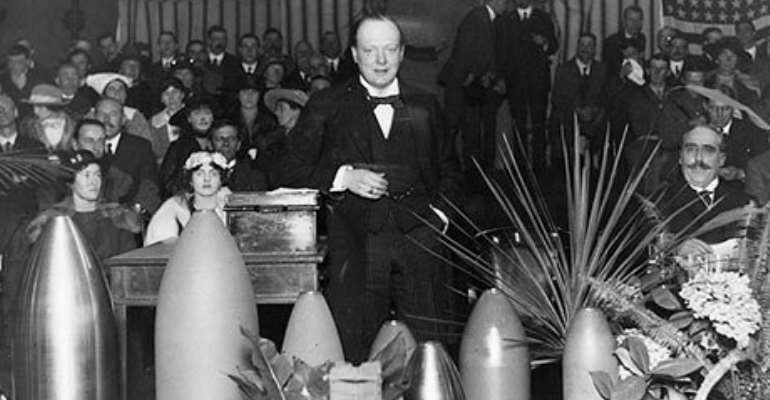 Winston Churchill speaking at a munitions factory in Ponders End, 1916. Photograph: Hulton Archive