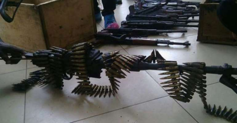 File photo: Some 11 AK-47 assault rifles, 10 G-3 assault rifles, several magazines and a large quantity of ammunition was seized in Kumasi in 2015.