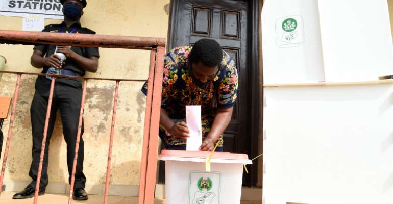 A Polling Station Is Seen In Edo State, Nigeria, On September 19, 2020. Two Journalists Were Recently Attacked While Covering Alleged Vote Fraud In Edo. (AFP/Pius Utomi Ekpei)