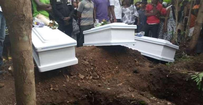 Tears Flood Burial Of Three Siblings Who Died In Somanya Accident