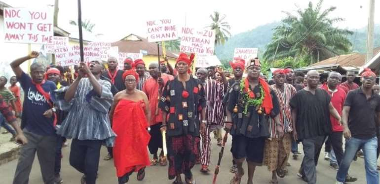 The Akyem Abuakwa Traditional Council led a demonstration against the NDC