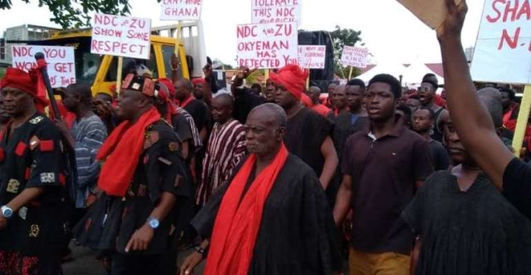 The chiefs and people paraded the streets of Kyebi on Monday over the comments.