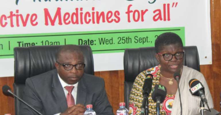 Vice President PSGH, Pharm. Yvonne Esseku (right) and Deputy Minister of Health, Alexander Abbas at the national launch of World Pharmacist Day.