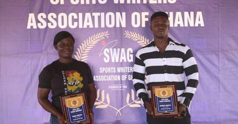 Best Armwrestlers Police Woman Grace Mintah And Derrick Kwakye Presented MTN SWAG Awards