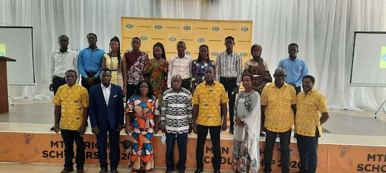 10 Award Recipients In A Group Photograph With The Regional Minister, Simon Osei Mensah And Sam Koranteng, MTN Corporate Services Executive During The Ceremony At KNUST
