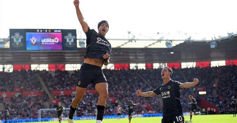 Raul Jimenez celebrates his goal for Wolves, Southampton vs Wolves, Premier League, St Mary's, Southampton, September 26, 2021  Image credit: Getty Images
