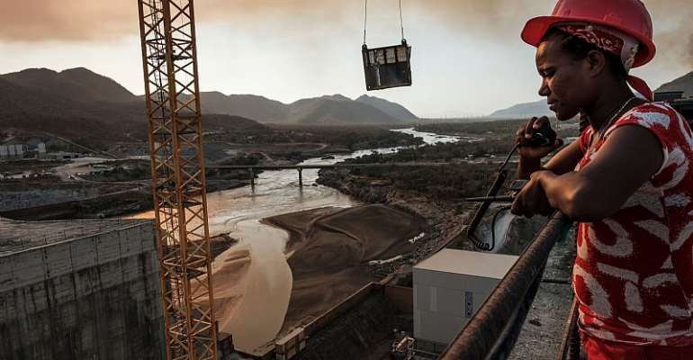Workey Tadele, a radio operator, at the Grand Ethiopian Renaissance Dam near Guba in Ethiopia in December 2019 - Source: Eduardo Soteras/AFP via Getty Images