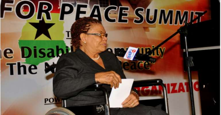 Madam Emma Bruce-Lyle, Member of the Ghana Federation of the Disabled, speaking at the Summit