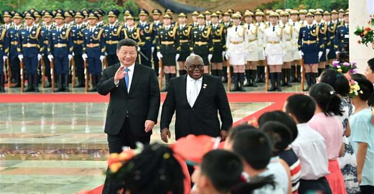 China's President Xi Jinping holds a welcome ceremony for Ghana's President Nana Akufo-Addo