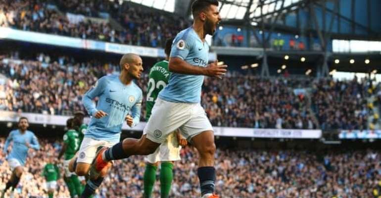 Sergio Agüero celebrates scoring Manchester City's second goal against Brighton. Photograph: Philip Oldham/BPI/Rex/Shutterstock