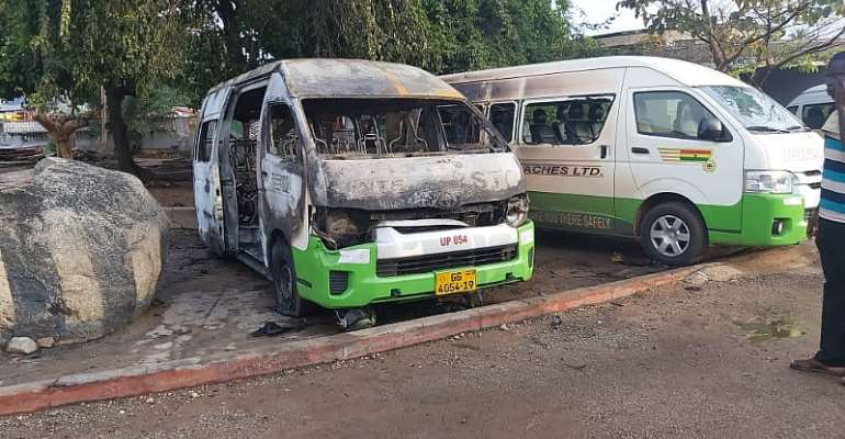 PHOTOS: How Volta Secessionists Beat STC Driver, Burnt Two Buses To Ashes