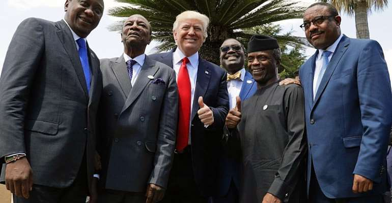 Trump poses with African leaders, Kenyatta, Alpha Condé, former chairperson of the African Union, etc, photo credit: [I](© AP Images)[/I]