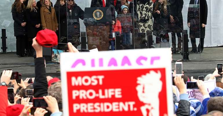 US President Donald Trump speaks at the 47th March For Life rally on the National Mall, January 24, 2019 in Washington, DC. - Source: