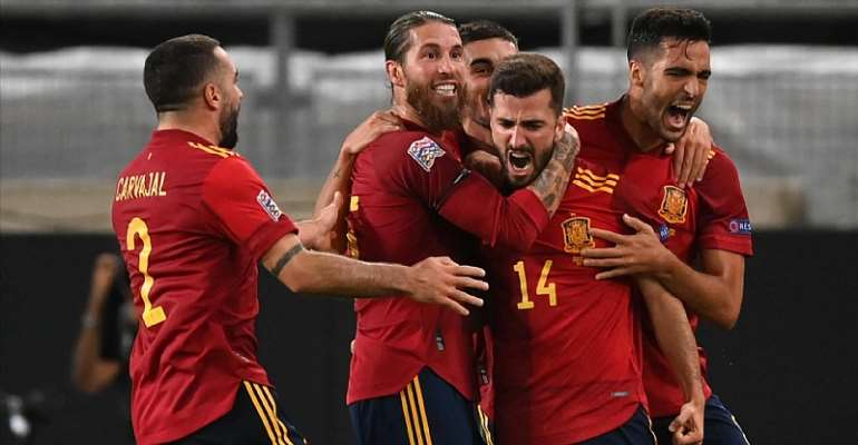 LUIS JOSE GAYA OF SPAIN CELEBRATES WITH TEAMMATES AFTER SCORING HIS TEAM'S FIRST GOAL DURING THE UEFA NATIONS LEAGUE GROUP STAGE MATCH BETWEEN GERMANY AND SPAIN AT MERCEDES-BENZ ARENA  IMAGE CREDIT: GETTY IMAGES