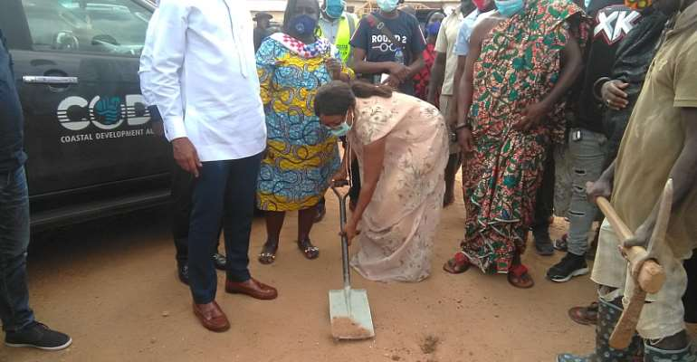 Hon. Cynthia Morrison Cut Sod For Construction Of Astroturf Facilities For Agona West
