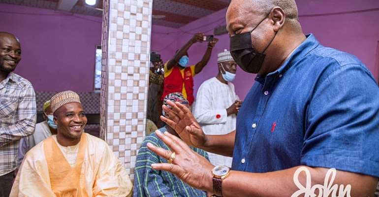Mahama pays courtesy call on chiefs, Catholic Bishop in Bono East on thank-you tour