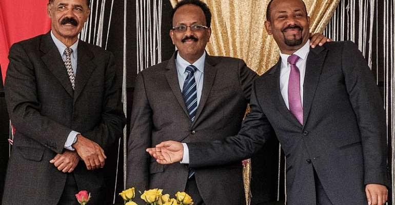 Eritrea's President Isaias Afwerki (left), Ethiopia's Prime Minister Abiy Ahmed (right) and Somalia's President Mohamed Abdullahi Mohamed. - Source: