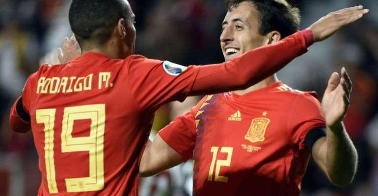Rodrigo, Alcacer Doubles Help Spain Thrash Faroes