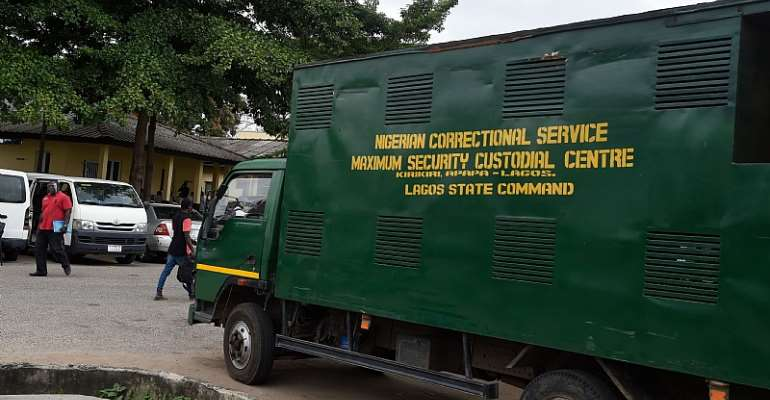 Trucks like this are used to convey inmates to the prison in Lagos State, Nigeria. Over 70 percent of inmates in Nigeria have not appeared in court and haven't been sentenced. - Source:
