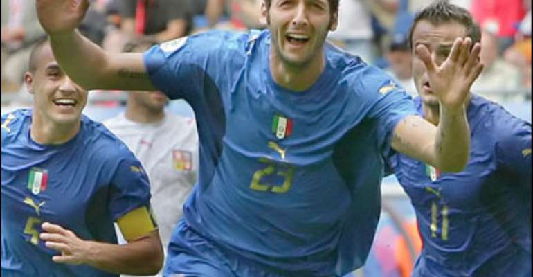 The goal - Materazzi's first for his country - is against the run of play and puts Italy in pole position to reach the next round