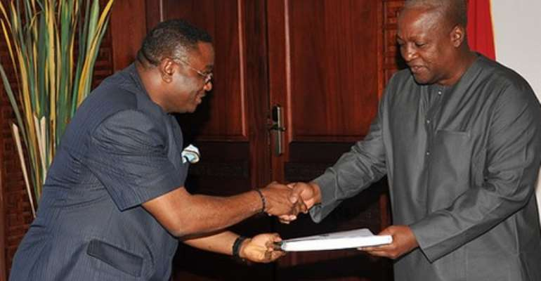 President Mahama receives copy of the GYEEDA report which has now been released