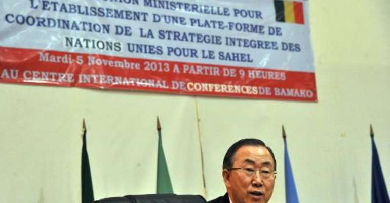UN chief Ban Ki-moon gives a speech at an inter-ministerial meeting to discuss coordination and a UN integrated strategy for the Sahel region in Bamako on November 5, 2013.  By Issouf Sanogo (AFP/File)
