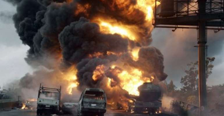 A petrol tanker fire in Nigeria's southern Rivers states