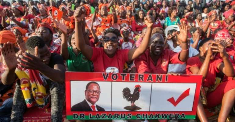 A candidate will have to garner more than 50 percent of the votes to be declared winner of Malawi's election.  By AMOS GUMULIRA (AFP)