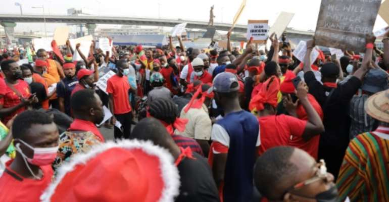 A crowd of protesters rallied in Accra under the banner #FixTheCountry.  By Nipah Dennis (AFP)