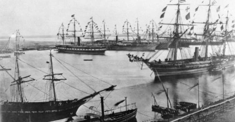 A file photo from November 1869 shows the inauguration of the Suez Canal in Egypt, which opened after a decade-long construction to link the Mediterranean to the Red Sea.  By - (AFP/File)
