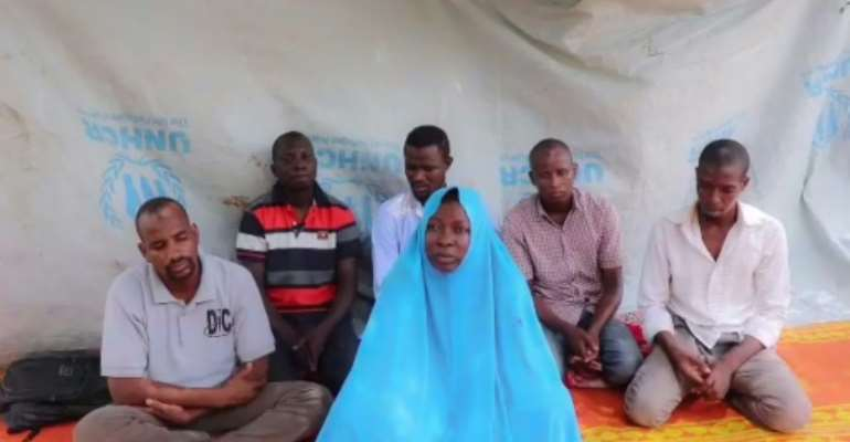 A July 2019 video released by the Islamic State West Africa Province (ISWAP) purportedly shows a female Action Against Hunger (AFC) employee and her five male colleagues that the jihadists kidnapped in northeast Nigeria.  By Handout (IS-linked Islamic State West Africa Province (ISWAP)/AFP/File)
