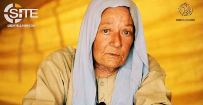 A June 2018 video grab from an undated and unlocated video provided by the SITE Intelligence Group shows 75-year-old Frenchwoman Sophie Petronin,who was abducted by gunmen in December 2016 in Gao, Mali, where she worked for a children's charity.  By - (SITE INTELLIGENCE GROUP/AFP/File)