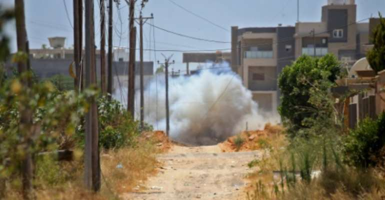 A landmine is exploded during Turkish demining operations in the Salah al-Din area, south of the Libyan capital Tripoli on June 15, 2020.  By Mahmud TURKIA (AFP/File)