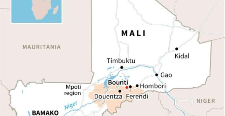 A map of Mali locating Bounti, where a wedding was reportedly attacked on Sunday.  By Manel MENGUELTI (AFP)
