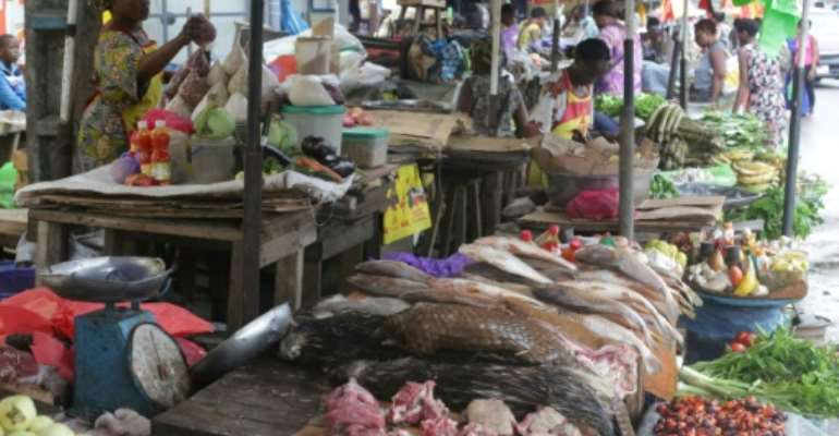 A market in Gabon's capital where bushmeat is sold, including pangolins, whose popularity has plummeted since it was blamed for transmitting coronavirus to humans.  By Steeve JORDAN (AFP)