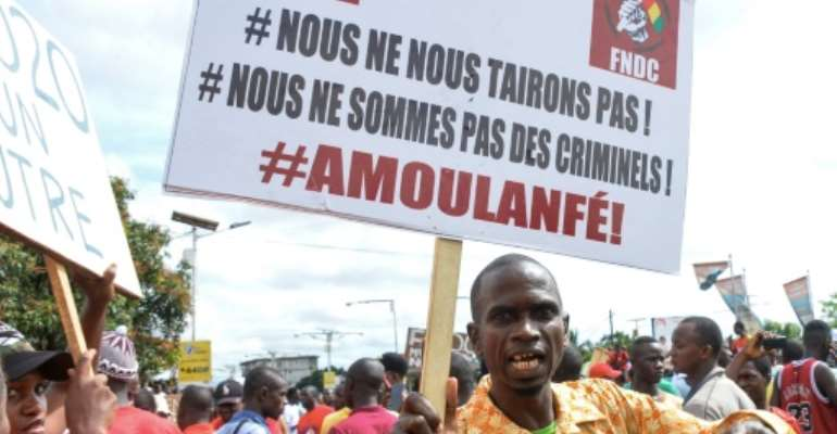 A massive demonstration took place on October 24.  By CELLOU BINANI (AFP/File)